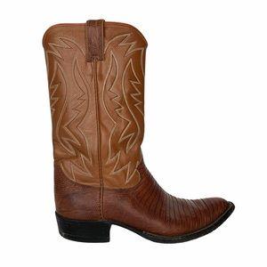 Vintage Justin Brown Leather Cowboy Boots 8.5 D